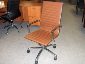 JOPLIN WS-JOPLIN-HB-BR LEATHER & CHROME CHAIR