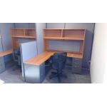 Standard workstations with wave corners Cappuccino Cherry with medium tone base